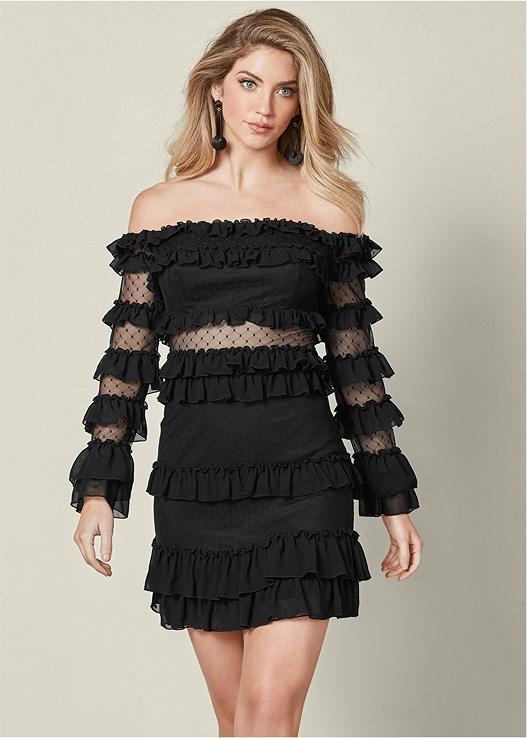 87b914dcaf Black RUFFLE DETAIL MINI DRESS from VENUS