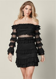 Front View Ruffle Detail Mini Dress