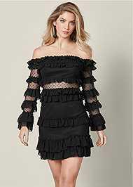 Front View Ruffle Detail Mini Dress