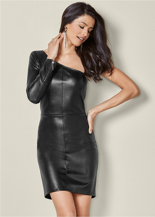 FAUX LEATHER BODYCON DRESS,HIGH HEEL STRAPPY SANDALS,RHINESTONE FRINGE EARRINGS
