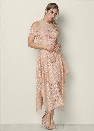 Front View Lace Up Detail Lace Dress