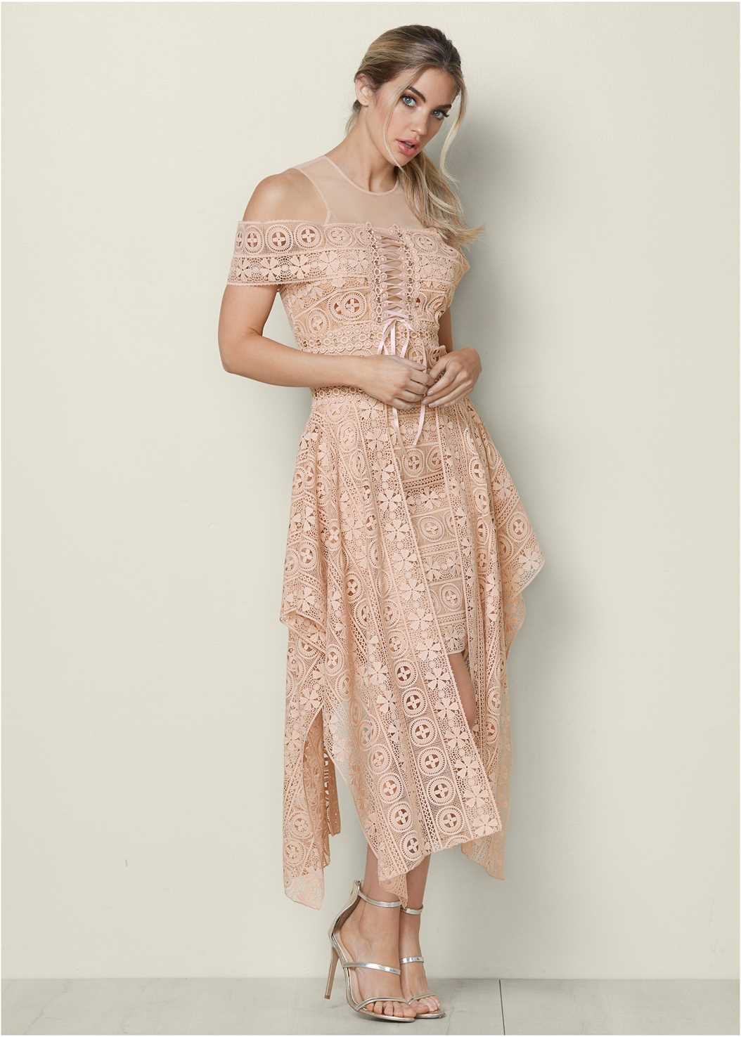 Lace Up Detail Lace Dress,High Heel Strappy Sandals