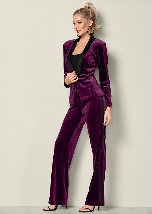 VELVET PANT SUIT SET,SEAMLESS CAMI,HIGH HEEL STRAPPY SANDALS,BAUBLE HOOP EARRINGS