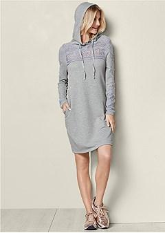 plus size crochet detail lounge dress