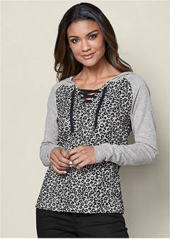 leopard lace up lounge top