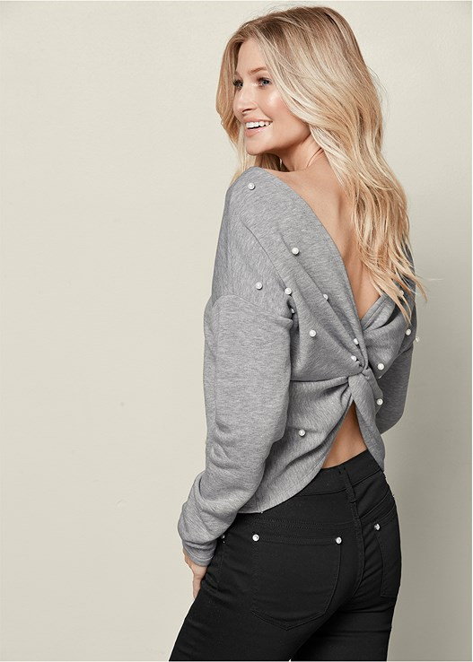 PEARL KNOT BACK SWEATSHIRT,COLOR SKINNY JEANS,OVER THE KNEE STRETCH BOOT
