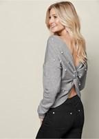 pearl knot back sweatshirt