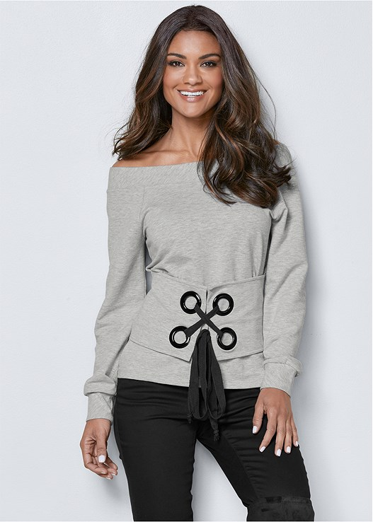 OFF THE SHOULDER SWEATSHIRT,EVERYDAY YOU STRAPLESS BRA,COLOR SKINNY JEANS