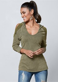 Front View Cold Shoulder Lounge Hoodie