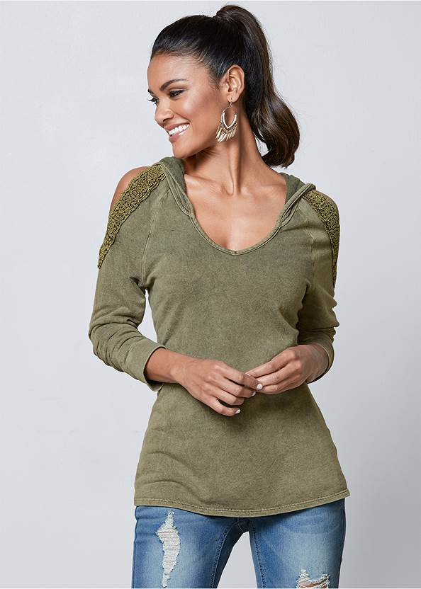 Cold Shoulder Lounge Hoodie,Mid Rise Color Skinny Jeans,Wrap Stitch Detail Booties,Embellished Sandals,Beaded Drop Earrings
