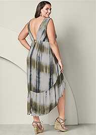 Back View Tie Dye Lace Up Dress