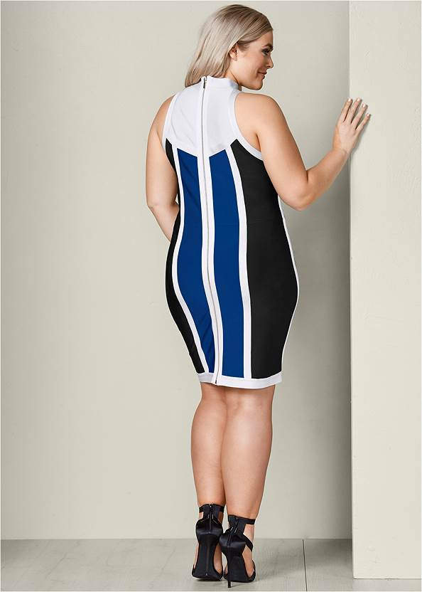 Back View Striped Bodycon Mini Dress