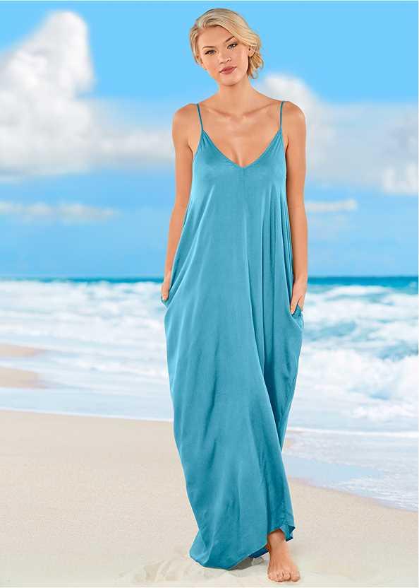 Boho Maxi Dress Cover-Up,Lovely Lift Wrap Bikini Top,Lattice Side Bikini Bottom,Strappy Back One-Piece