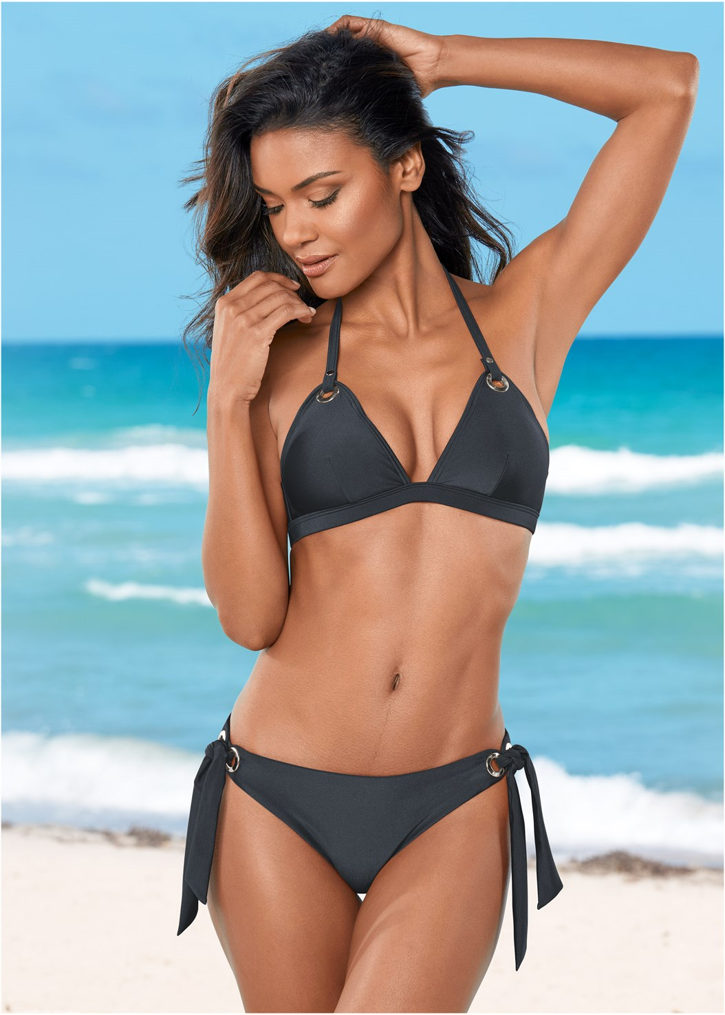 Grommet Triangle Top,Grommet Tie Side Bottom,String Side Bikini Bottom