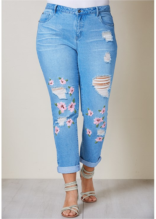 RIPPED FLORAL JEANS,TWISTED KNOT DETAIL TEE