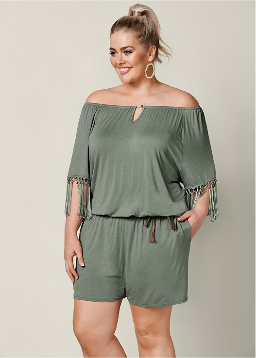 e7412400583 Plus Size FRINGE DETAIL ROMPER in Khaki