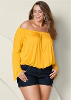 plus size off shoulder bell sleeve top