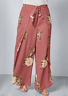 plus size floral open leg pants