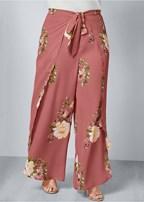 plus size floral open leg pants