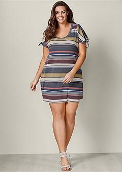 plus size stripe detail sleeve dress