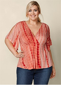 plus size flutter sleeve v-neck top