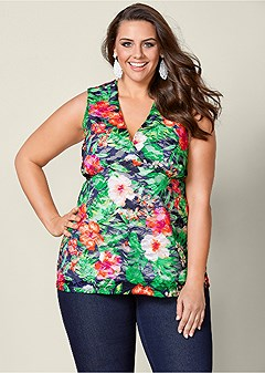 plus size printed lace top