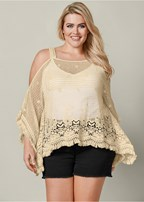 plus size lace fringe detail poncho