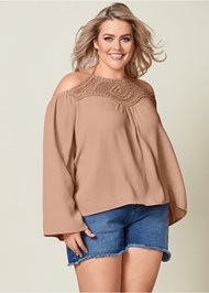 Front view Lace Detail Bell Sleeve Top