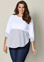 plus size peplum mixed media top