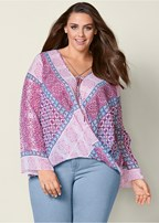 plus size printed surplice blouse