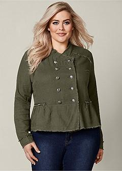 plus size button detail linen jacket