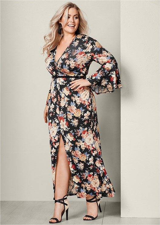ec1f14267ad Plus Size BELL SLEEVE FLORAL DRESS