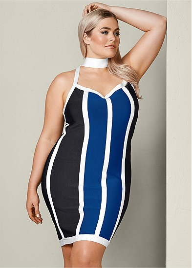 Plus Size Striped Bodycon Mini Dress