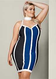 Front View Striped Bodycon Mini Dress