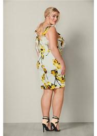 Back View Floral Print Ruffle Dress