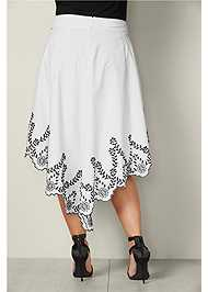 Back View Bow Front Embroidered Skirt
