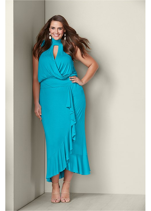 e4261c81b00 plus size ruffle detail maxi dress