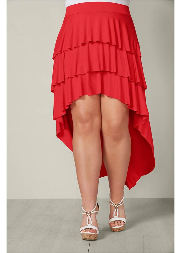 Front View Ruffle High Low Skirt