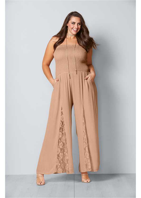 Lace Inset Smocked Jumpsuit,High Heel Strappy Sandals