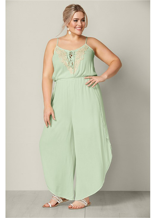 b87b1a081461 Plus Size EMBROIDERED JUMPSUIT in Mint   Off White