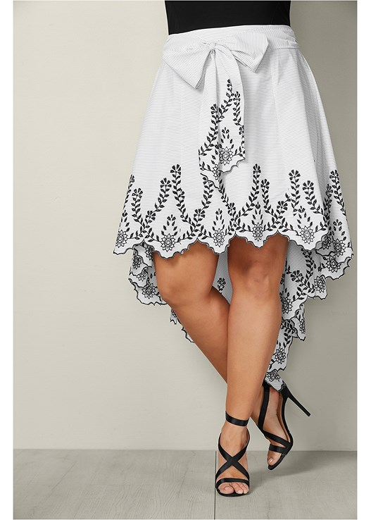 233ad5eefd3c Black & White BOW FRONT EMBROIDERED SKIRT from VENUS