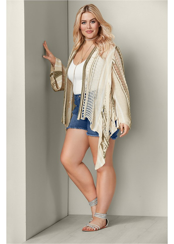 Multicolor Cardigan,Basic Cami Two Pack,Frayed Cut Off Jean Shorts