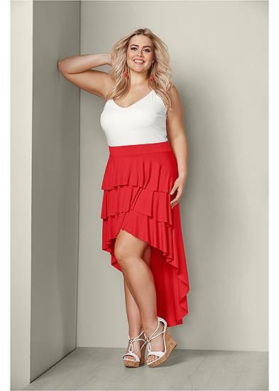 Plus Size Ruffle High Low Skirt