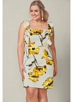 plus size floral print ruffle dress