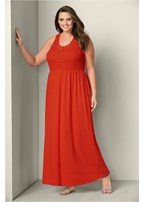 plus size crochet trim maxi dress