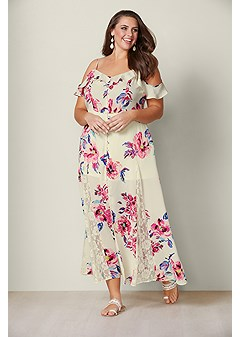 9bc963c2f8a1e plus size cold shoulder maxi dress