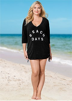 plus size deep v beach cover-up
