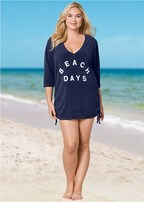 plus size deep v beach cover up