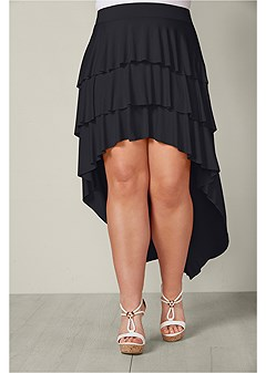 plus size ruffle high low skirt