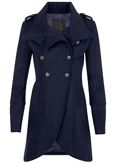 plus size button detail coat